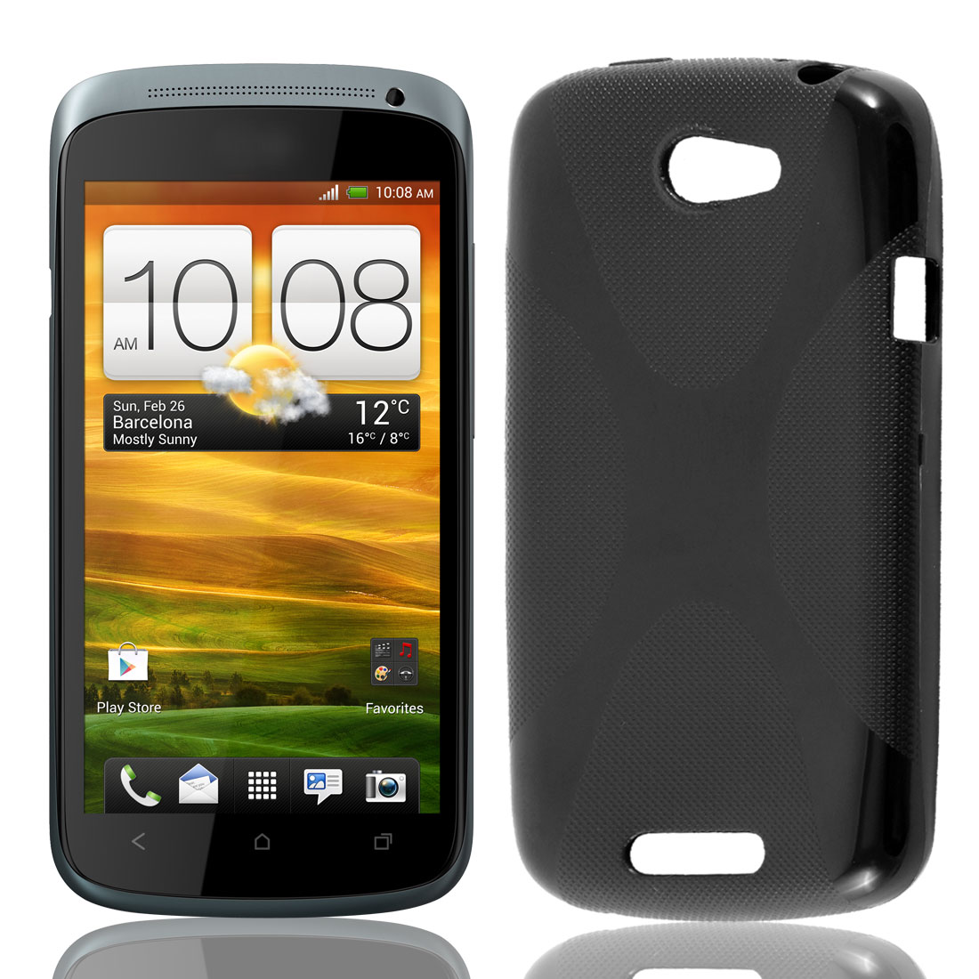 TPU Rubber X Shape Line Matte Case Cover Protector Black for HTC One S