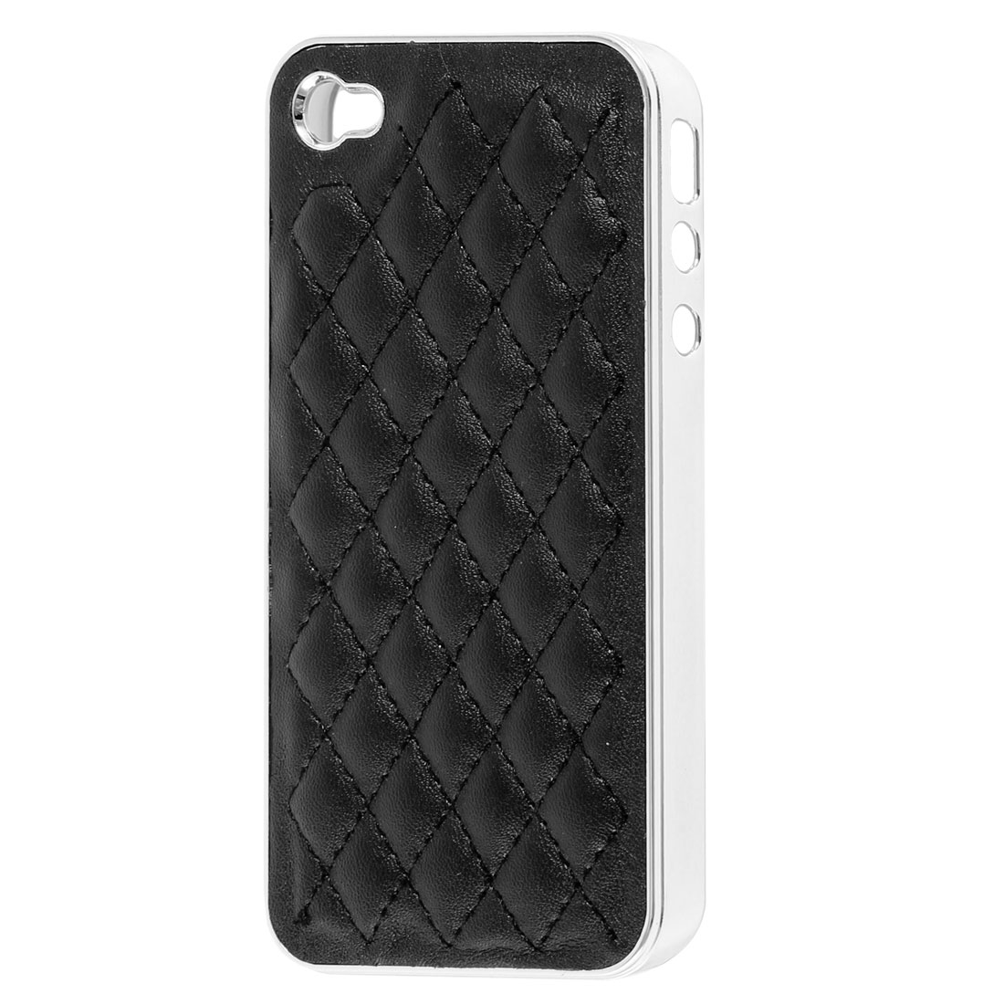 Rhombus Pattern Case Cover Guard Black Silver Tone for iPhone 4 4S 4G 4GS