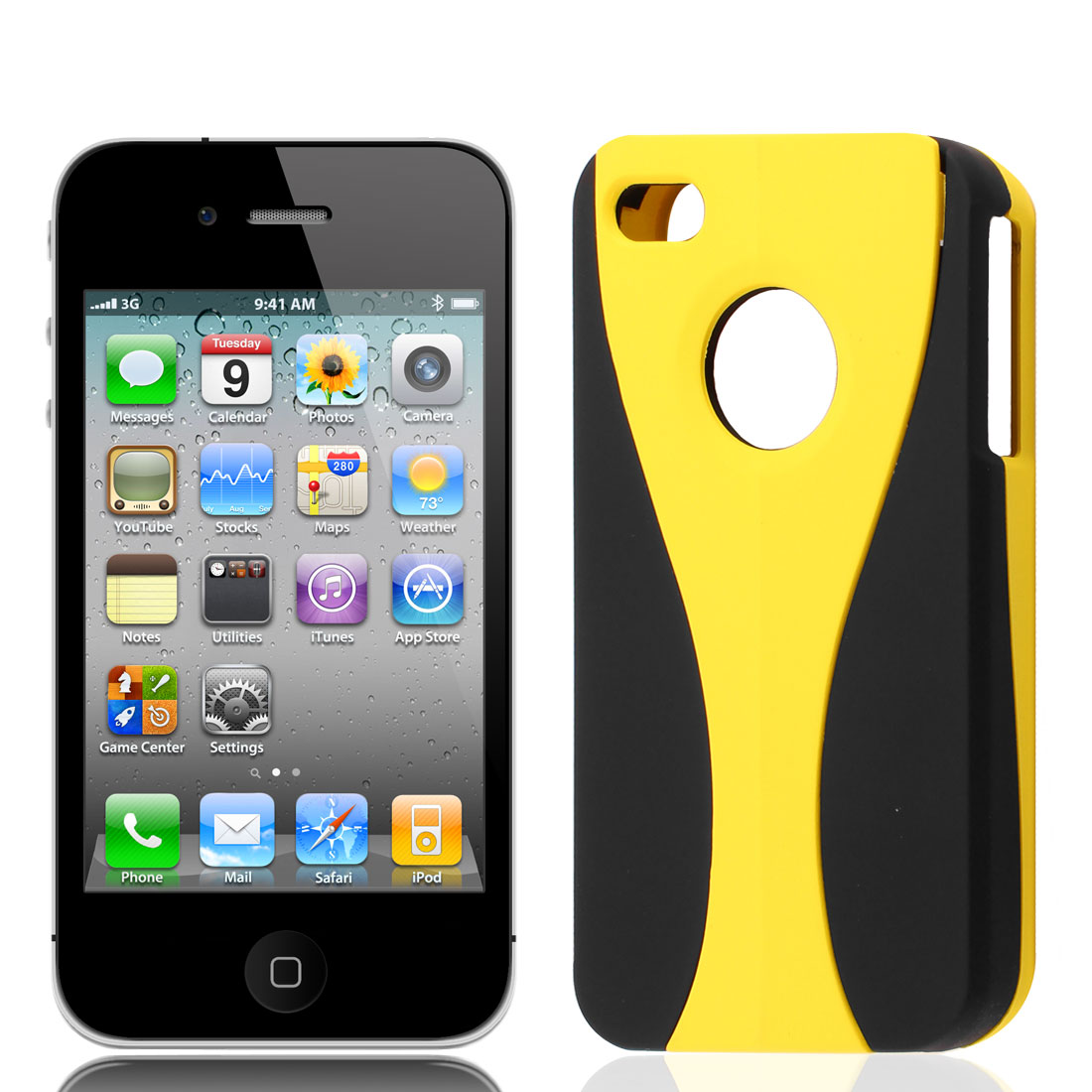 Black Yellow Goblet Print Detachable Hard Case Cover for iPhone 4 4G 4S 4GS