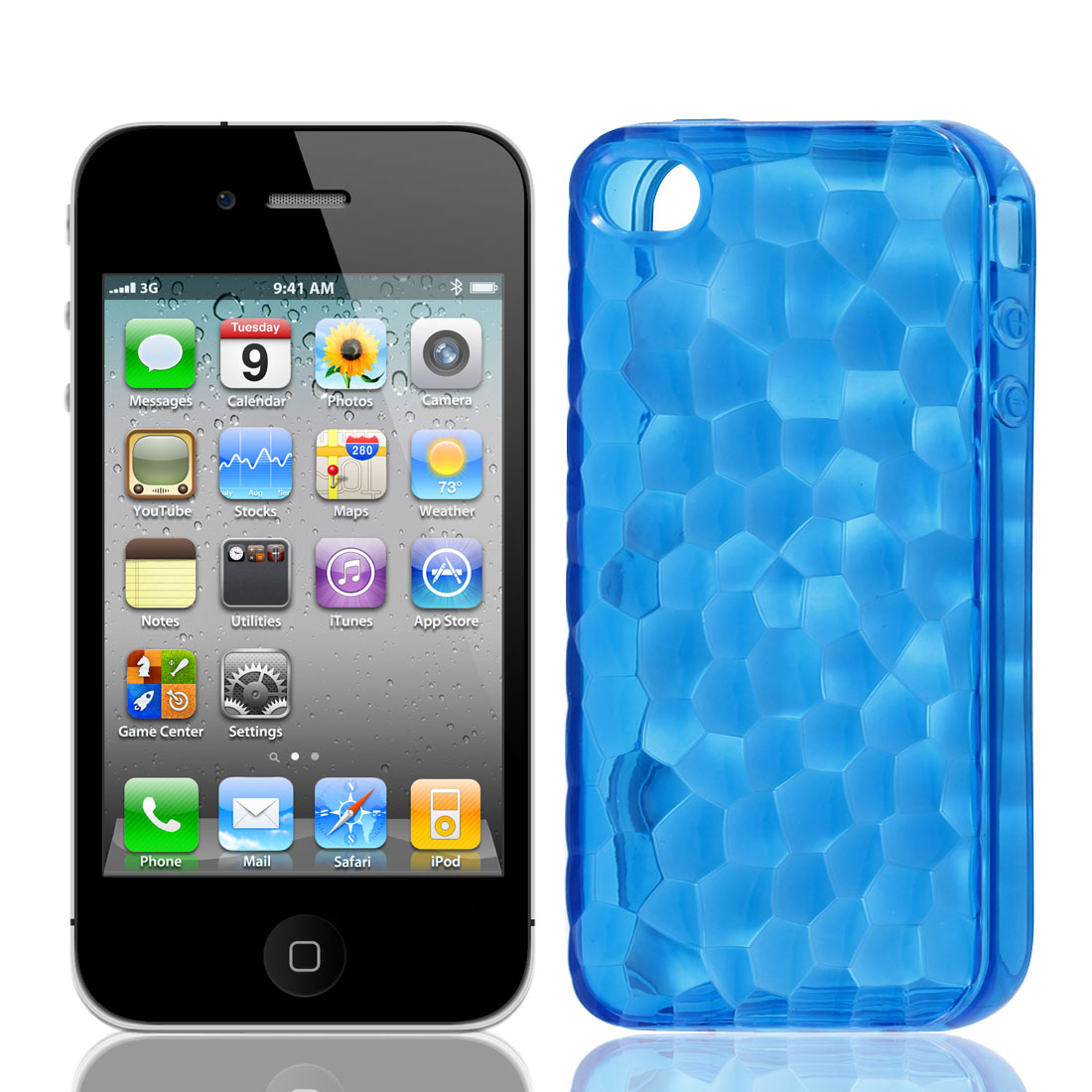 TPU Plastic Stone Print Skin Case Cover Guard Blue for Apple iPhone 4G 4S 4GS 4