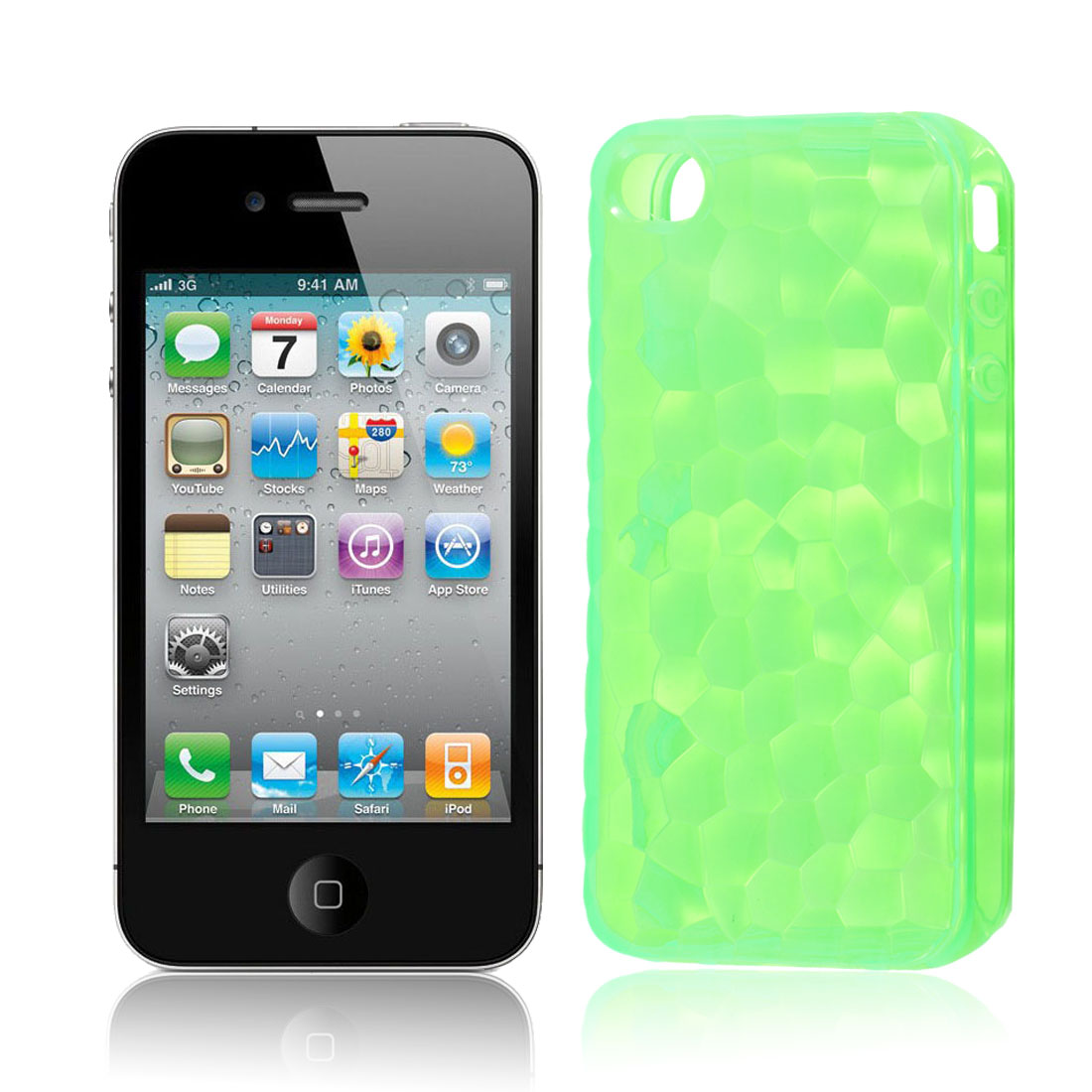 TPU Plastic Stone Pattern Case Cover Shell Green for Apple iPhone 4G 4S 4GS 4