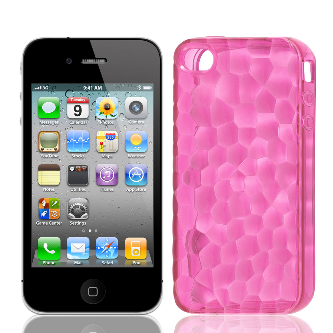 TPU Plastic Stone Print Case Cover Protector Fuchsia for Apple iPhone 4G 4S 4GS 4