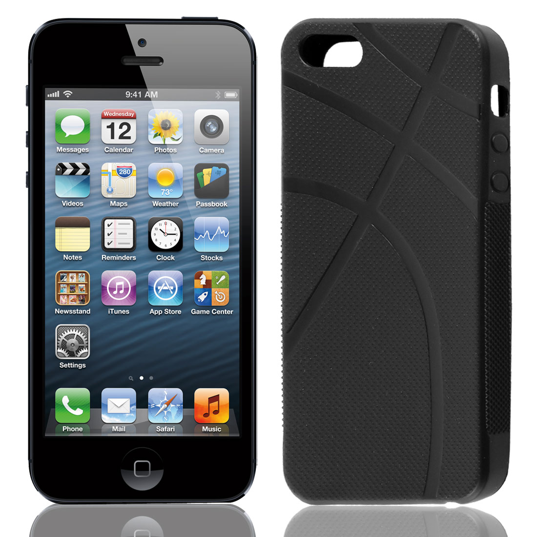 Black Rubber Basketball Pattern Case Cover Shell for Apple iPhone 5 5G 5Gen