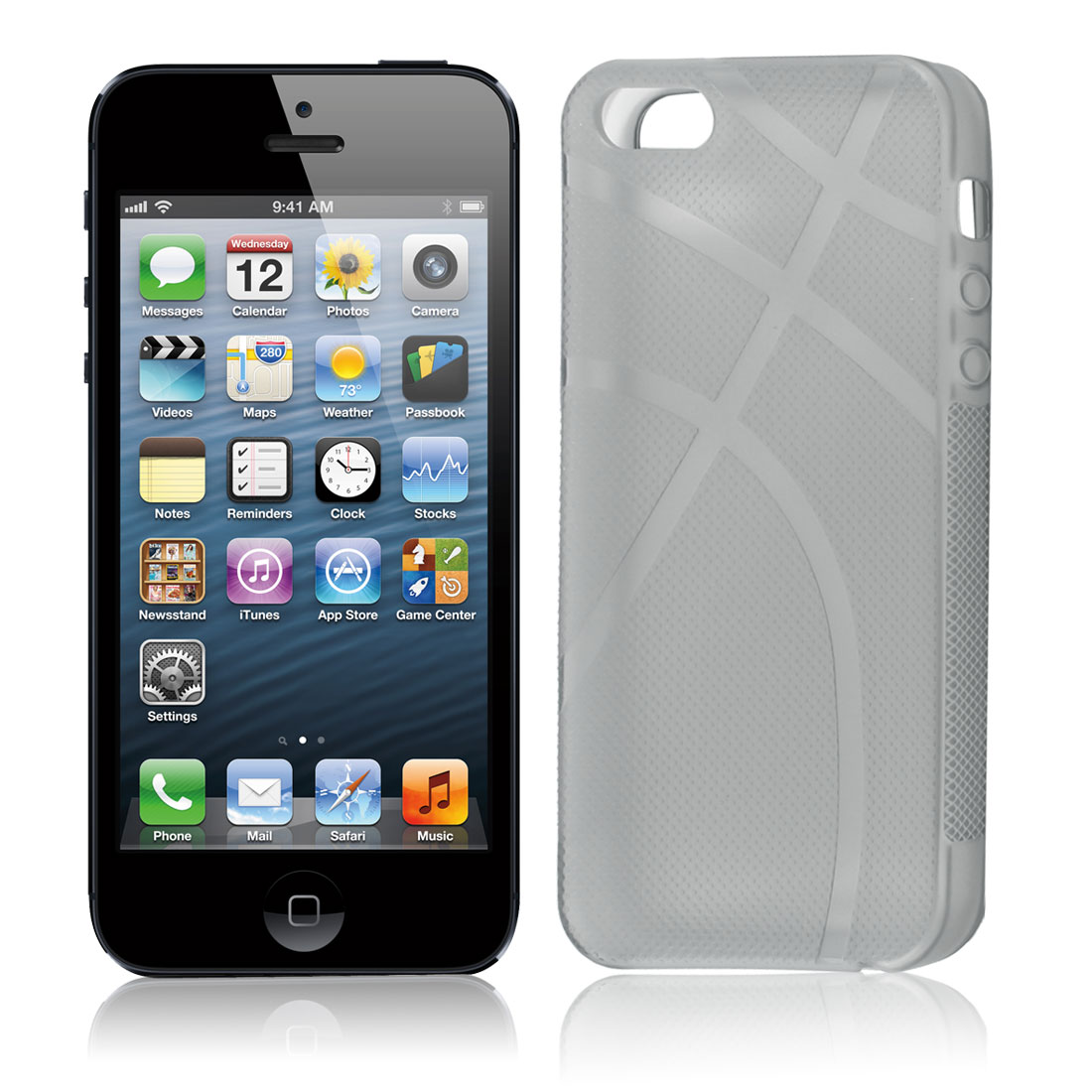 Clear Gray Rubber Basketball Print Protective Case Cover for Apple iPhone 5 5G 5Gen