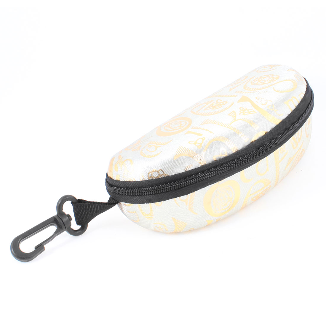 Beige Nylon Shell Conch Design Zipper Closure Sunglasses Eyeglasses Box w Hook