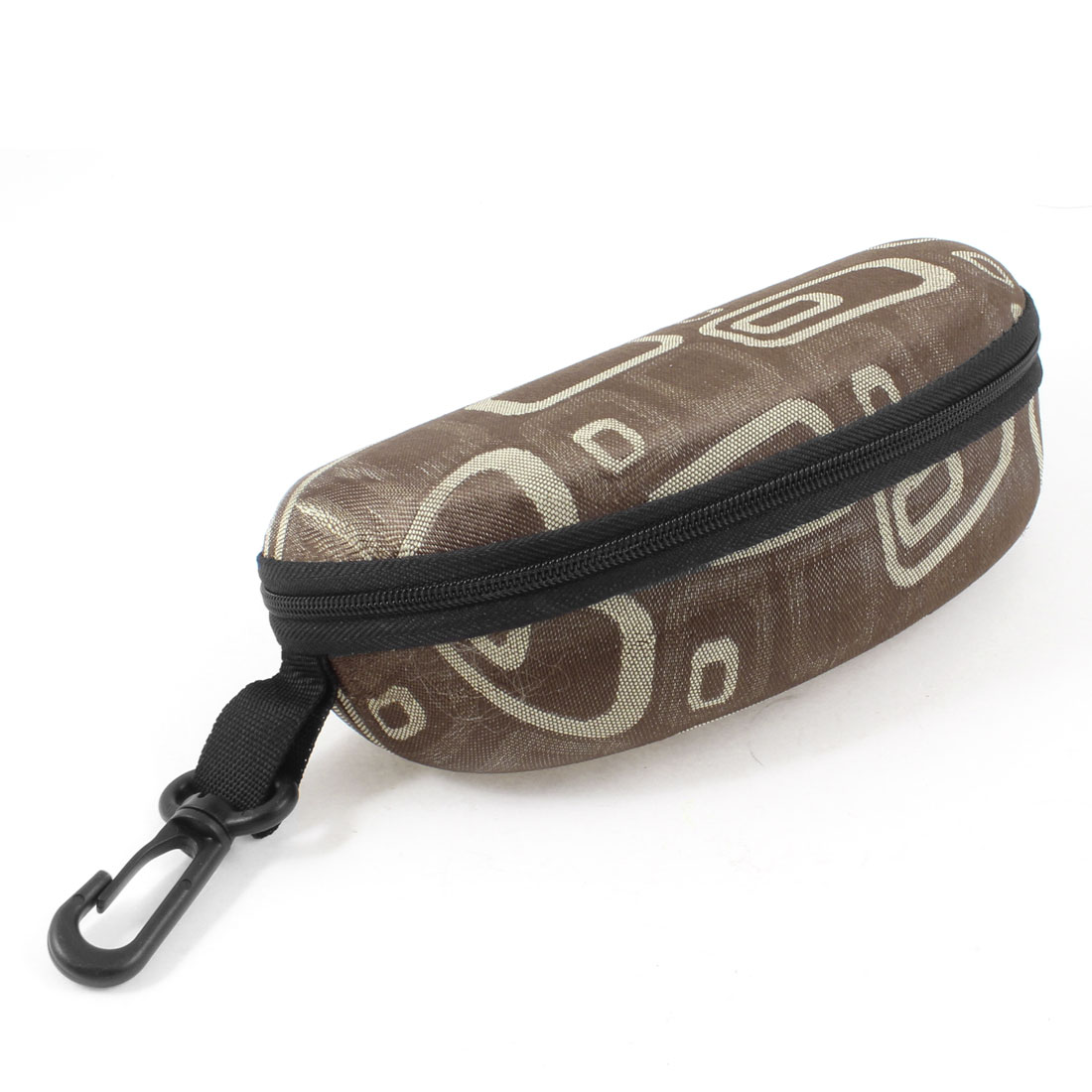 Fleece Lining Zipper Up Rectangle Printed Brown Sunglasses Case w Plastic Hook