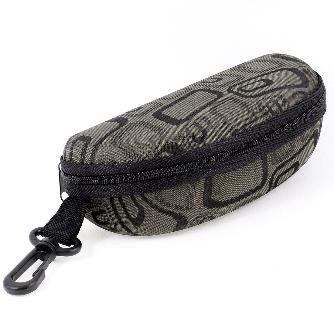 Fleece Lining Zipper Up Rectangle Printed Brown Black Sunglasses Case w Hook