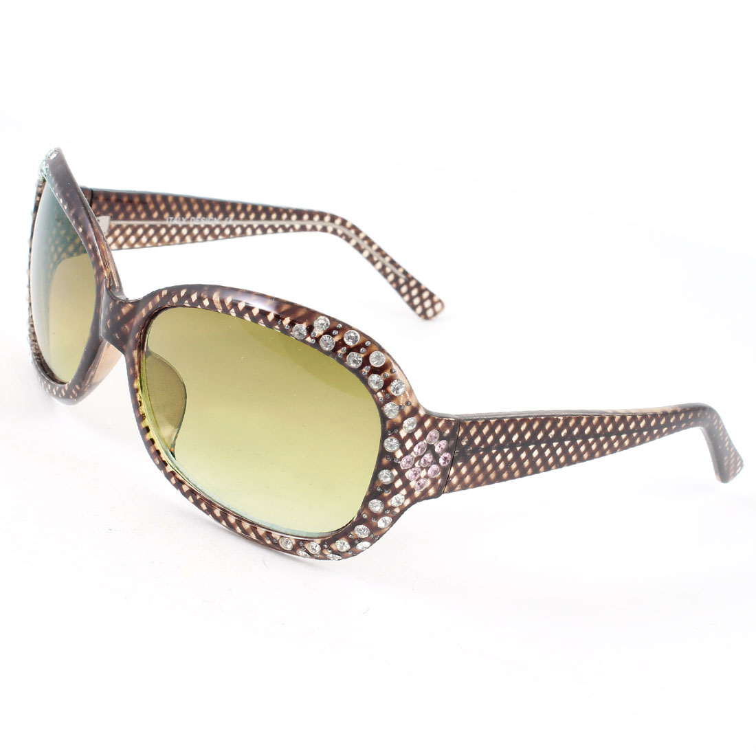 Fish Scale Pattern Frame Color Lens Rhinestones Decor Yellow Sunglasses for Lady