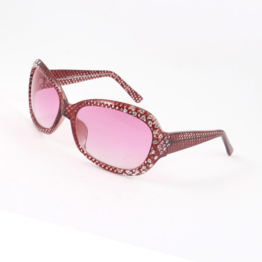 Women Ladies Pink Plastic Rhinestone Decor Big Lens Sunglasses