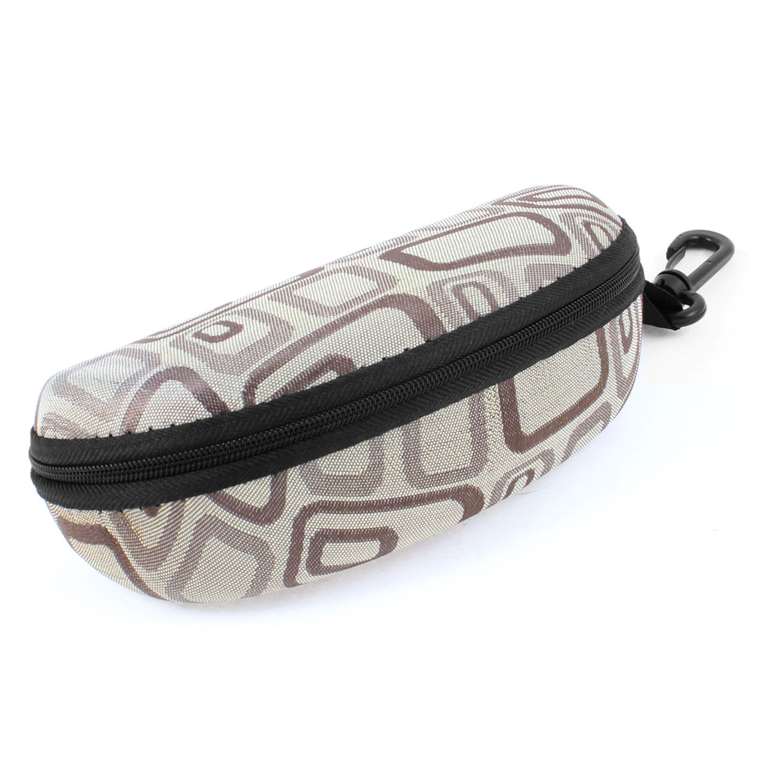 Fleece Lining Zipper Up Rectangle Printed Brown Gray Sunglasses Case