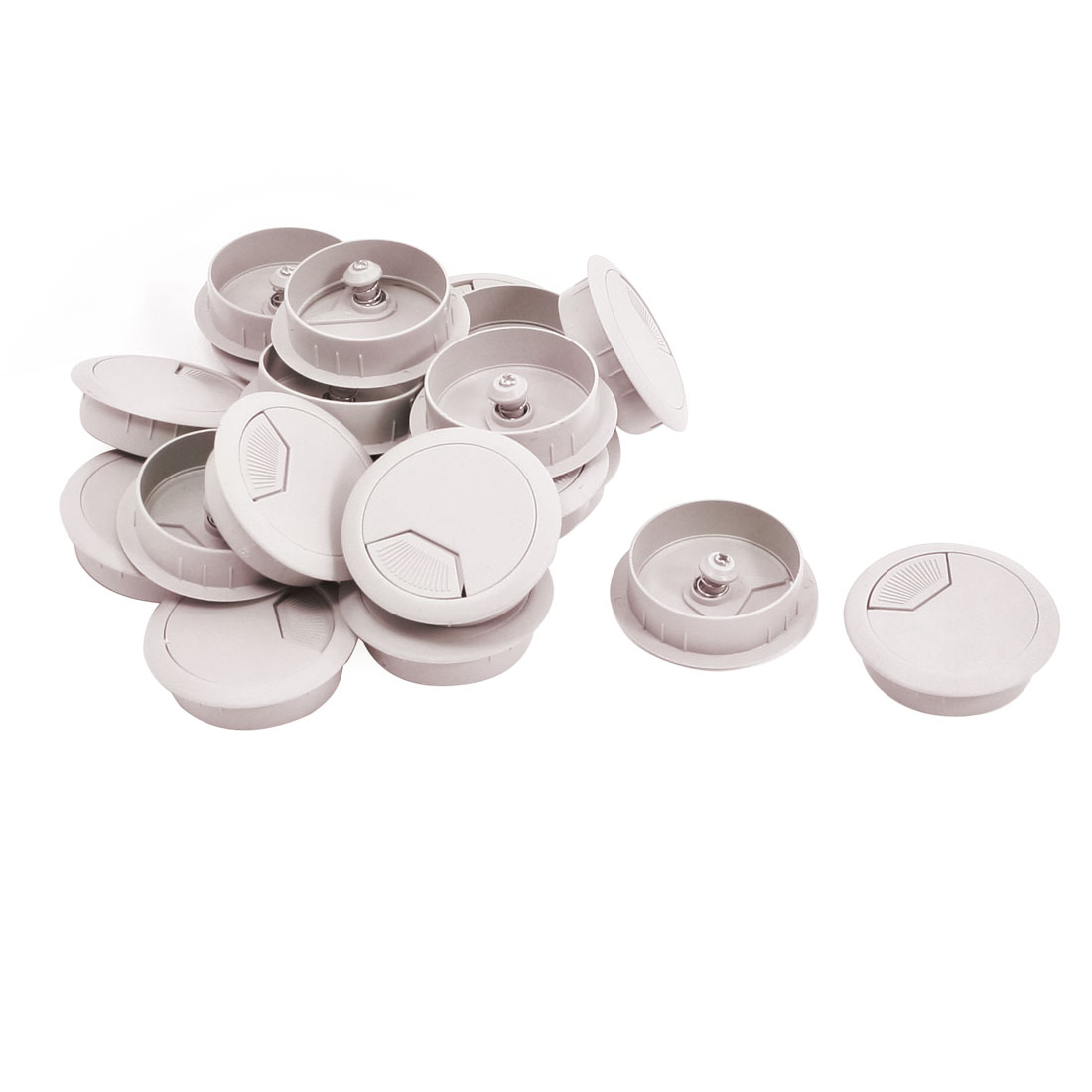 PC Desk Plastic Light Gray 50mm Diameter Grommet Cable Hole Cover 20Pcs