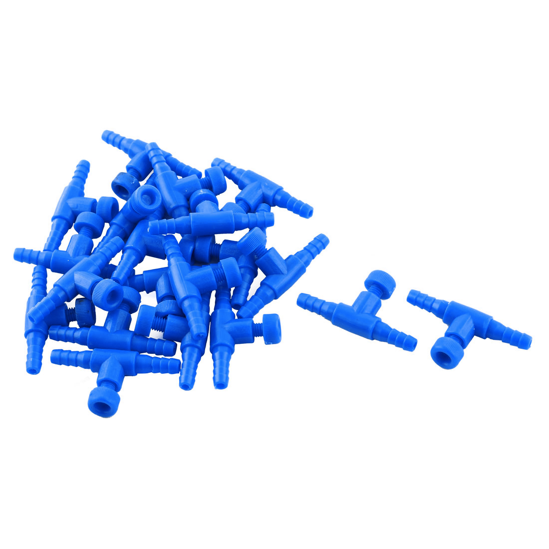 20 Pcs Blue Plastic Fish Tank Aquarium One Way Air Valve Connector