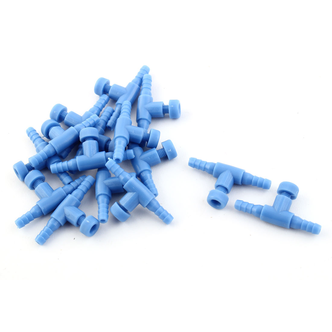 Fish Tank Aquarium Plastic Air Control Valve Connector Light Blue 15 Pcs