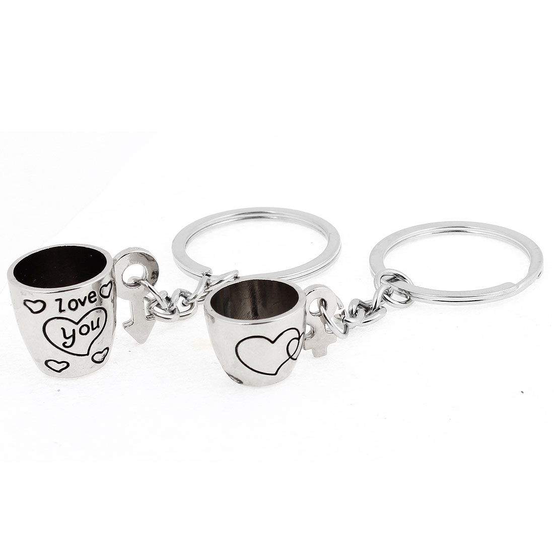 Lover Silver Tone Cup Shape Pandent Key Ring Keychain 2 Pcs