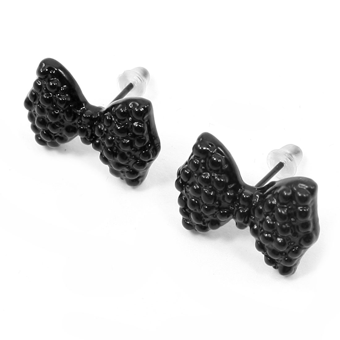 Lady Ear Ornament Black Bowknot Design Plastic Stud Earrings Pair