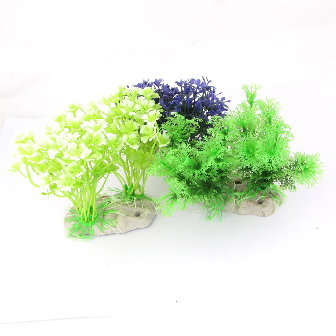 """Aquarium Purple Green Landscaping Plastic Aquatic Plant Grass 3.7"""" High 3 Pcs"""