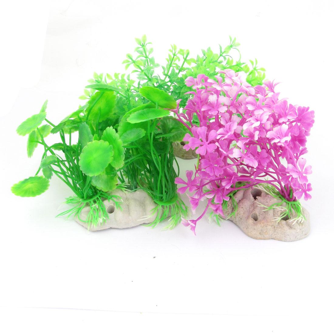 "3pcs Fish Tank Ornament Ceramic Base Fuchsia Green Plastic Plant 7.9"" Wide"