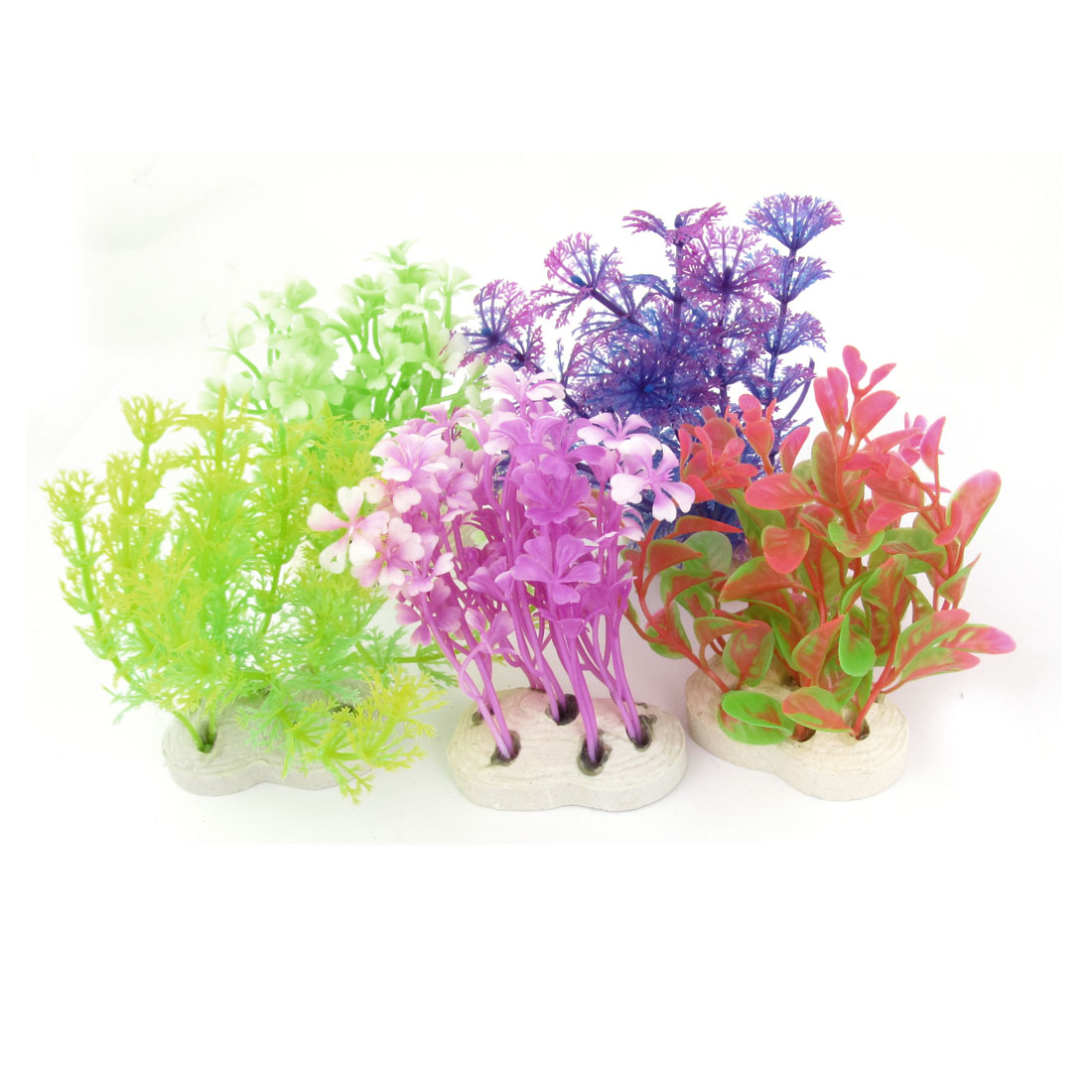 "Aquarium Ornament Ceramic Base Assorted Color Plastic Plant 3.9"" High 5pcs"