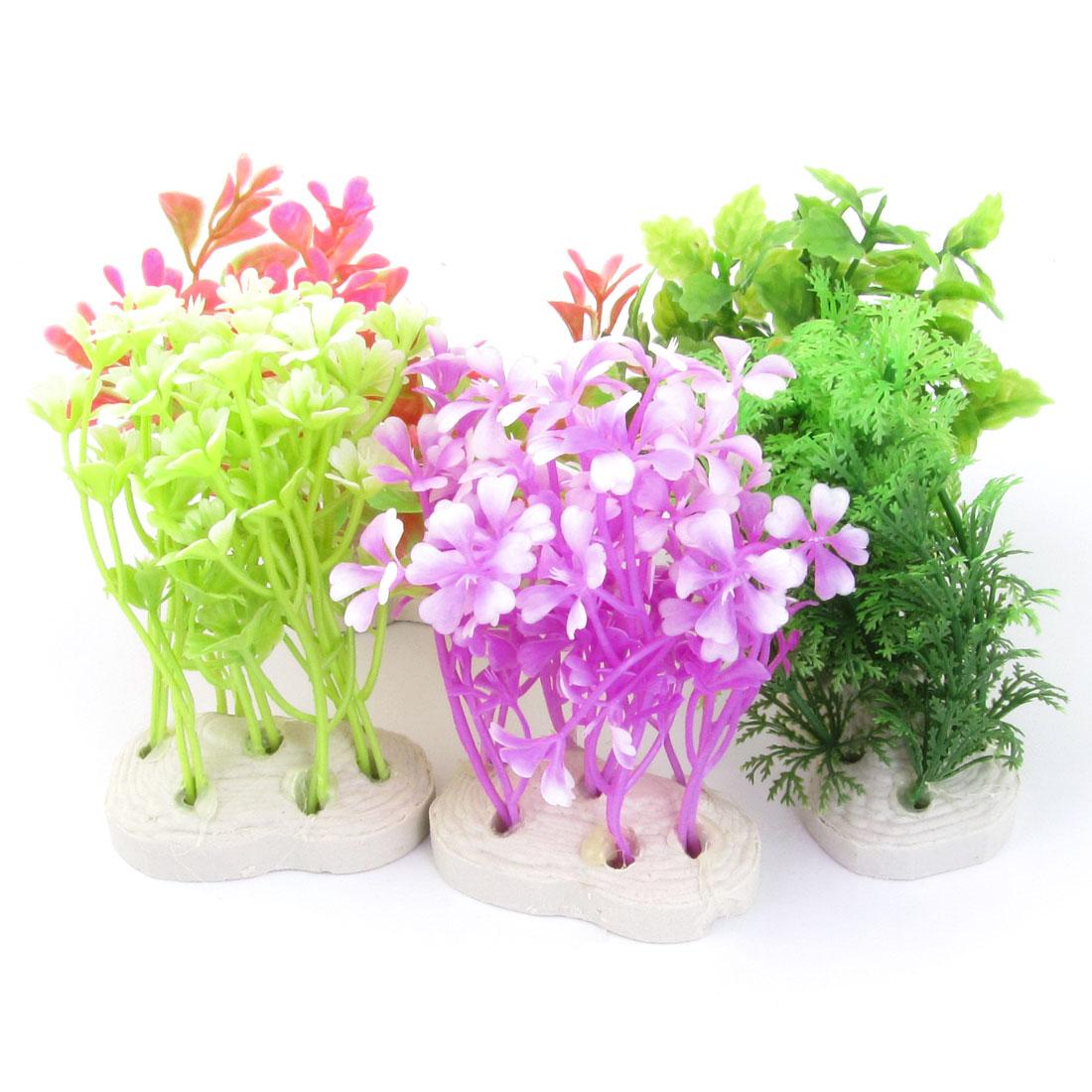 "Tri Color 3.9"" High Artificial Plastic Plant Grass 5 Pcs for Fish Tank"