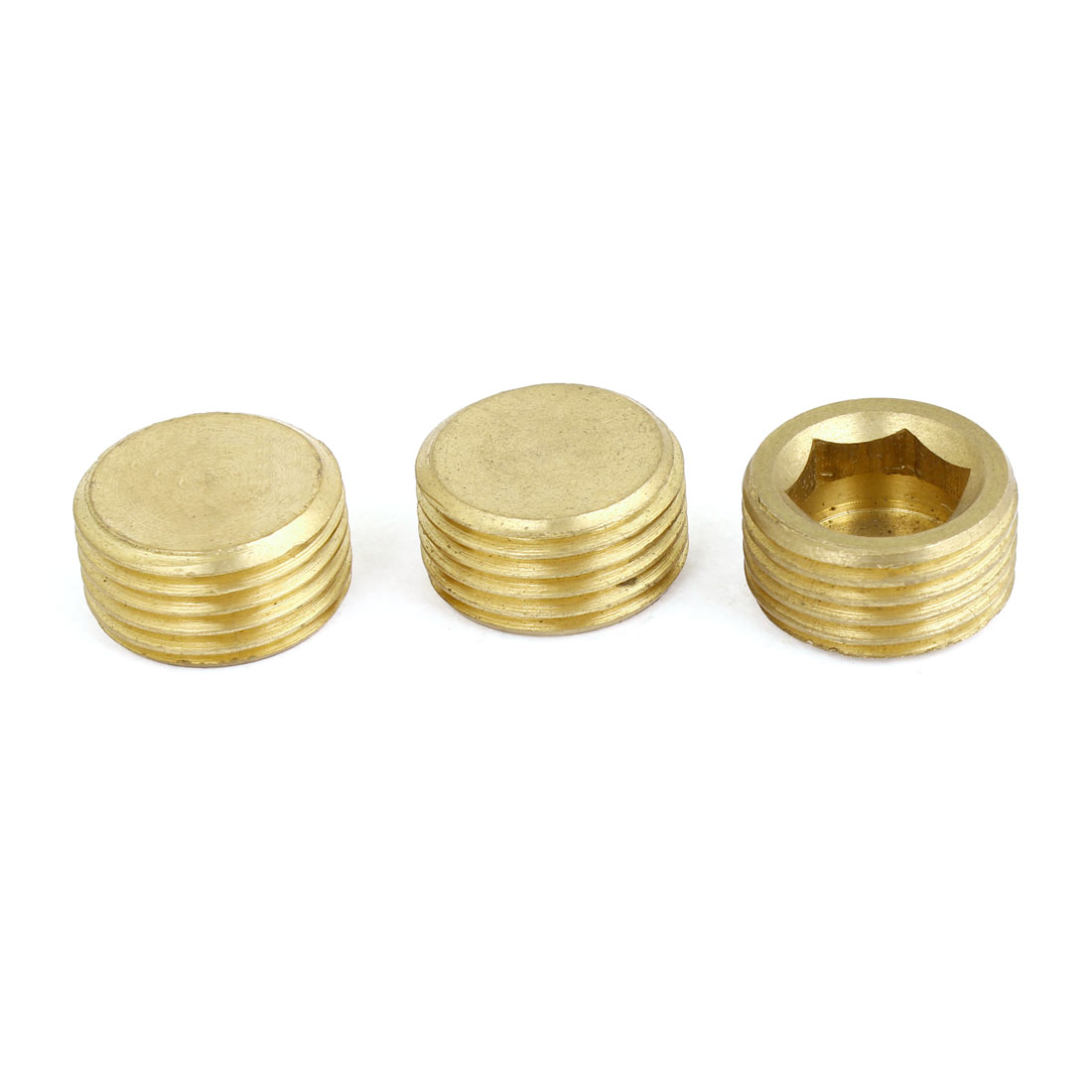 "Brass 1/2"" PT Male Thread Dia Hex Socket Head Pipe Fitting 3pcs"
