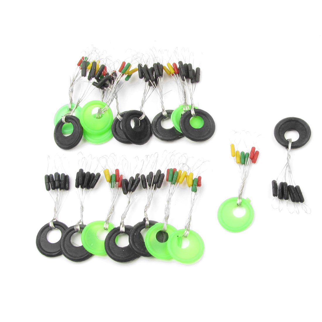 18pcs Multicolored Plastic Ring Rubber Stoppers Fishing Bobber Floater 6 in 1