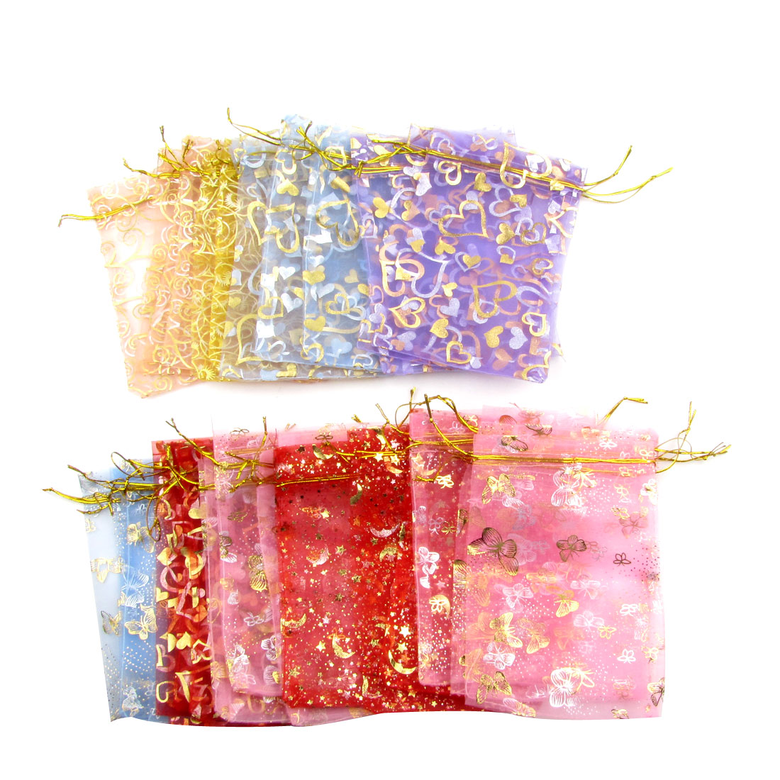 32pcs Gold Tone Flower Heart Stars Print Assorted Colors Organza Pouch Gift Bag