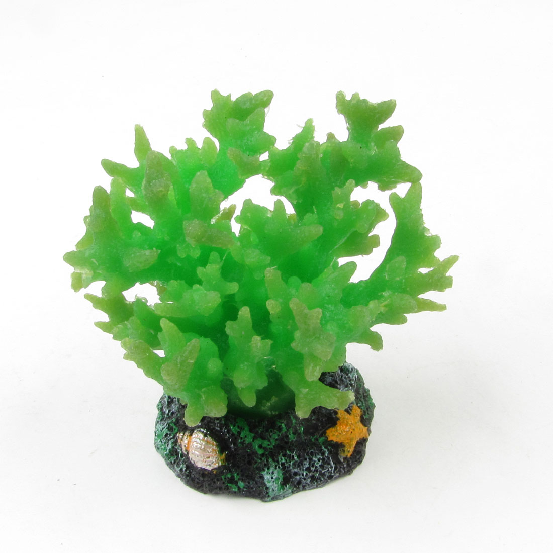 Green Soft Silicone Coral Black Ceramic Base Ornament for Aquarium Fish Tank
