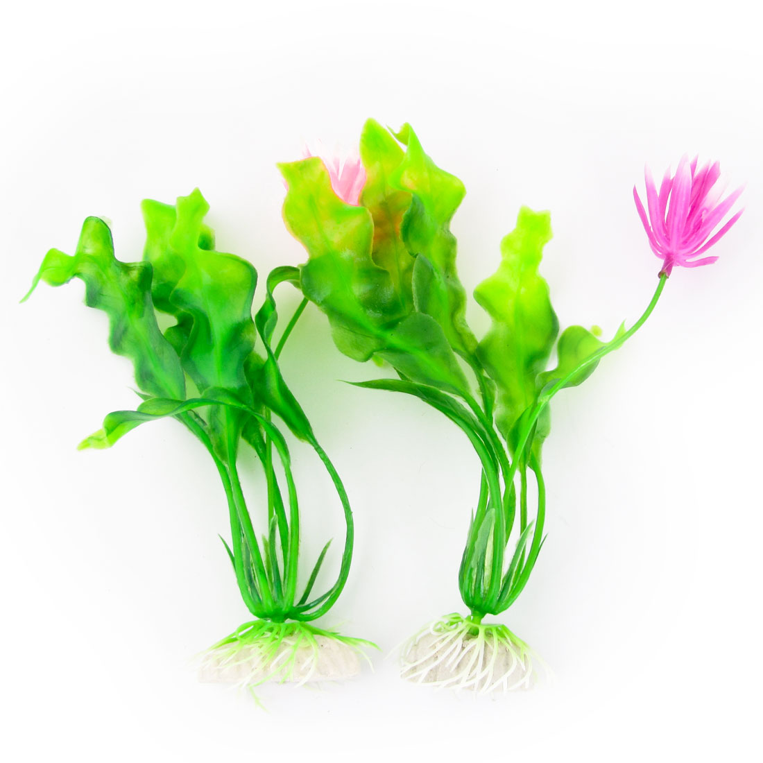 """2 Pcs Fish Tank Artificial Floral Decor Plastic 7.5"""" Long Aquatic Plant"""