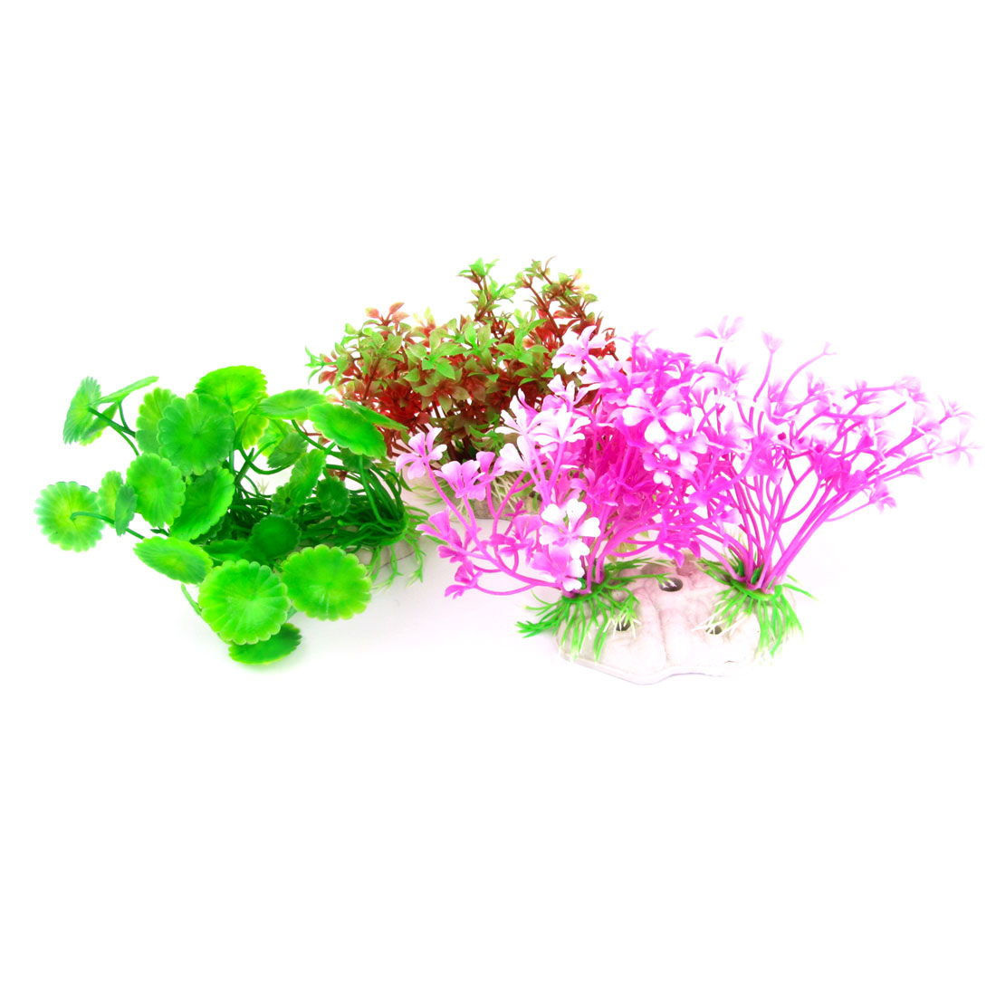 "3 Pcs Purple Red 6.7"" Wide Artificial Plastic Plant Grass for Aquarium"