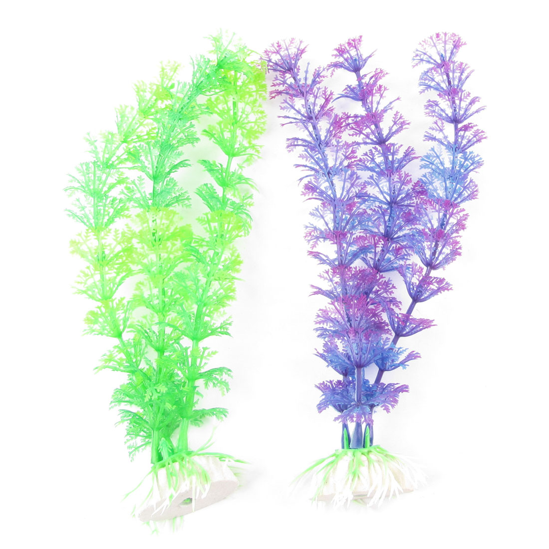 "2 Pcs Aquarium Ornament Ceramic Base Plastic Grass Plant 8.7"" Long Green Purple"