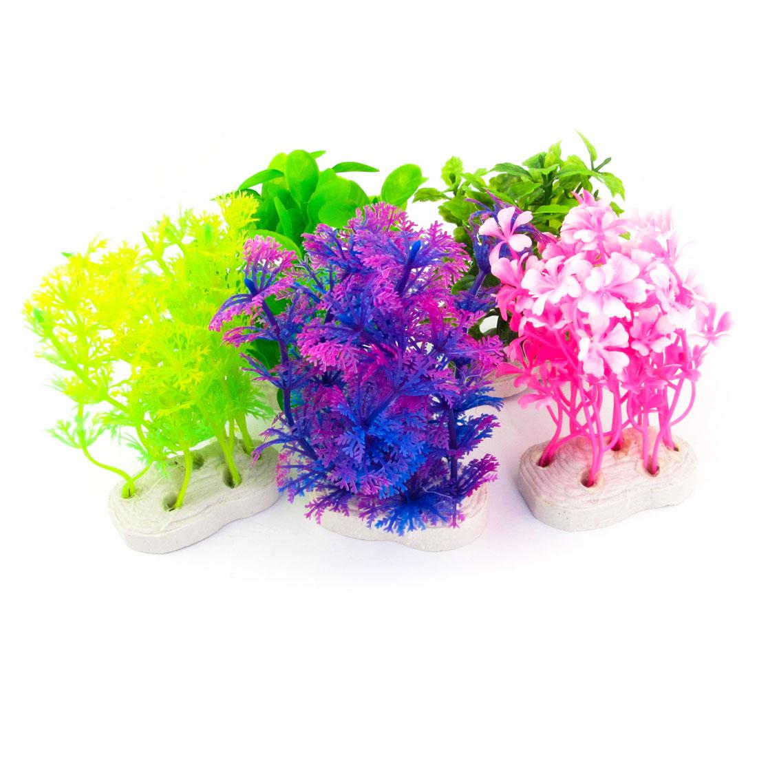 """5pcs Aquarium Assorted Color Plastic 3.9"""" Height Aquatic Plant Grass"""