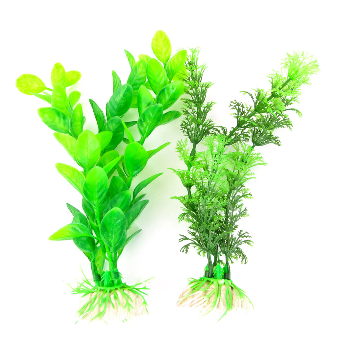 "2 Pcs Fish Tank Aquarium Artificial Plastic 7.1"" Long Aquatic Plant Green"
