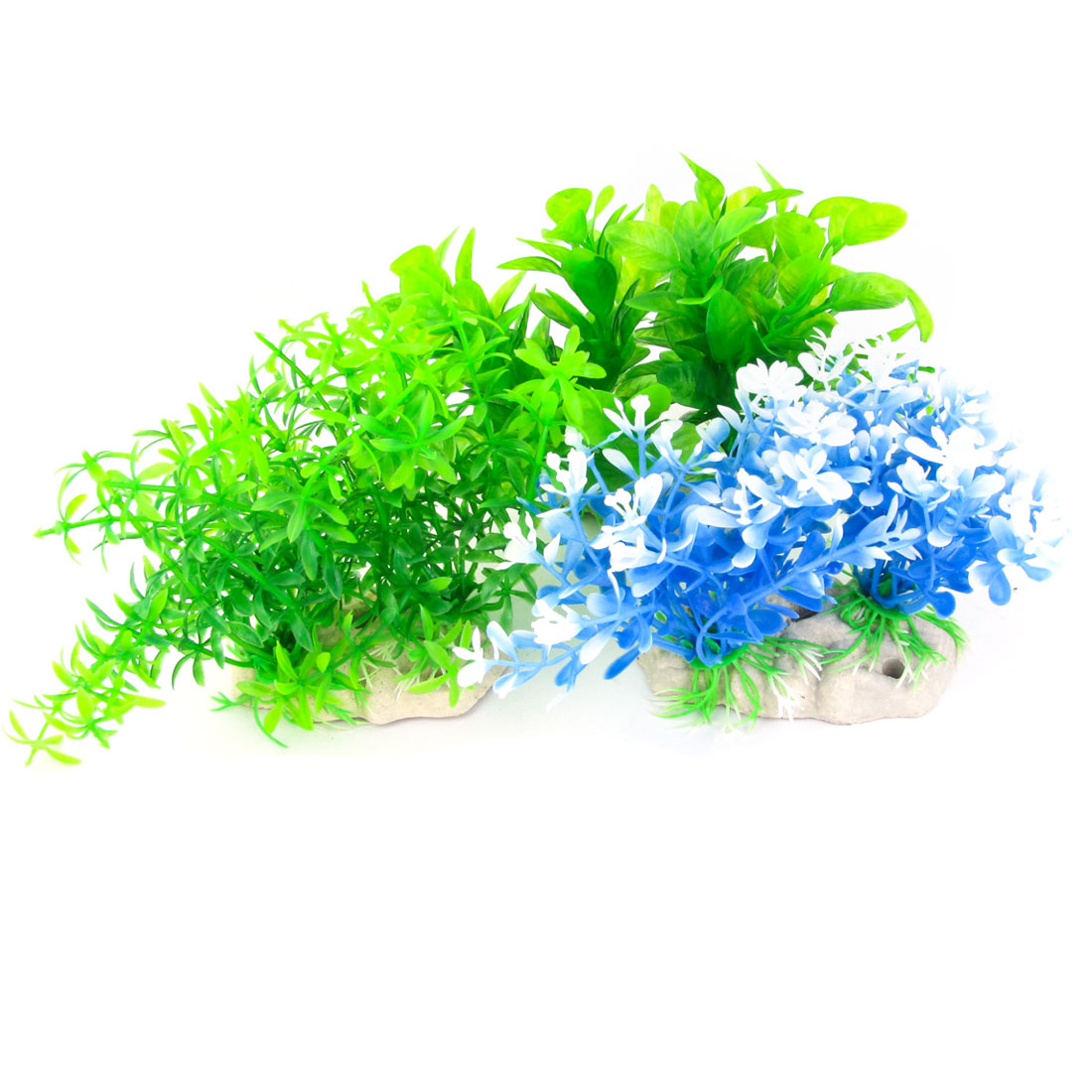 "Aquarium Blue Green 3.8"" High Artificial Plastic Plant Grass Ornament 3 Pcs"