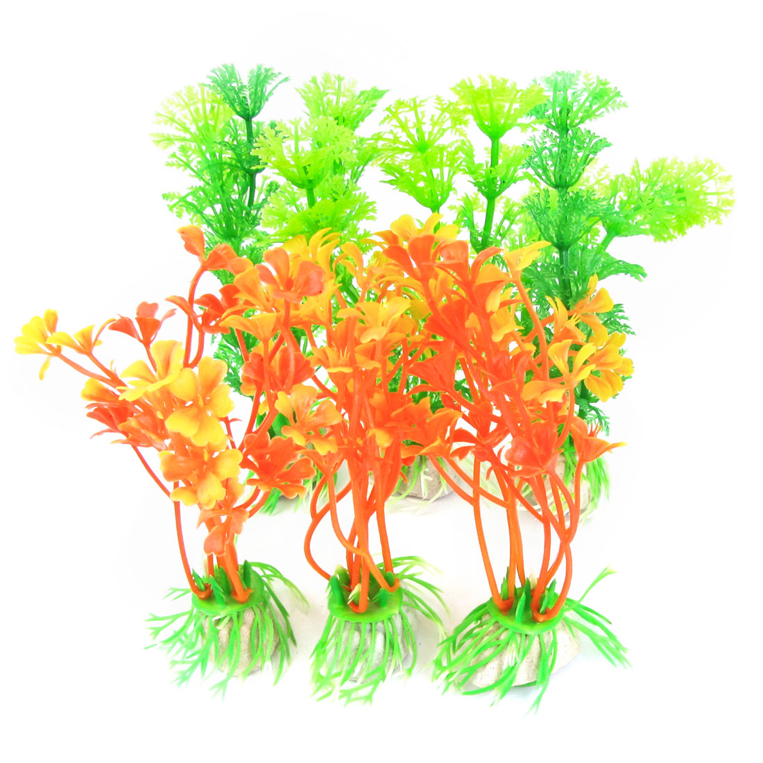 "6pcs Aquarium Decoration Ceramic Base Plastic Grass Plant 4.7"" High Orange Green"