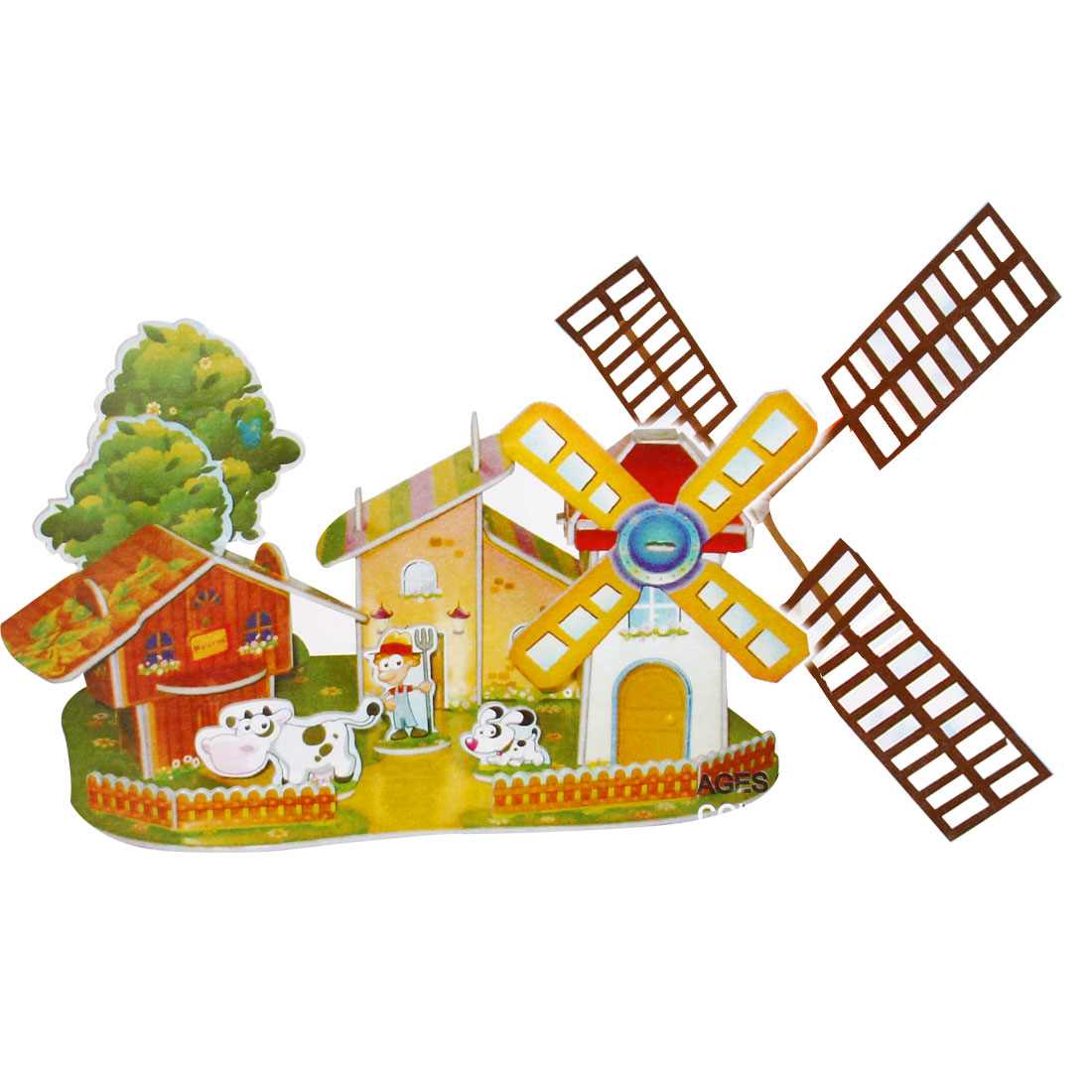 4 Sheets Happy Windmill Farm 3D Jigsaw Puzzles Toys for Kids