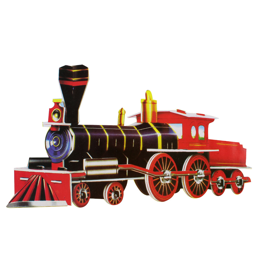 Red Black 3D Model Train Foam Paper Educational Puzzle Toy
