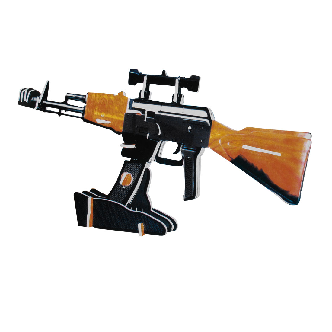 4 Sheets USM617 Bulldog AK47 Rush Rifle 3D Model Puzzle for Kid