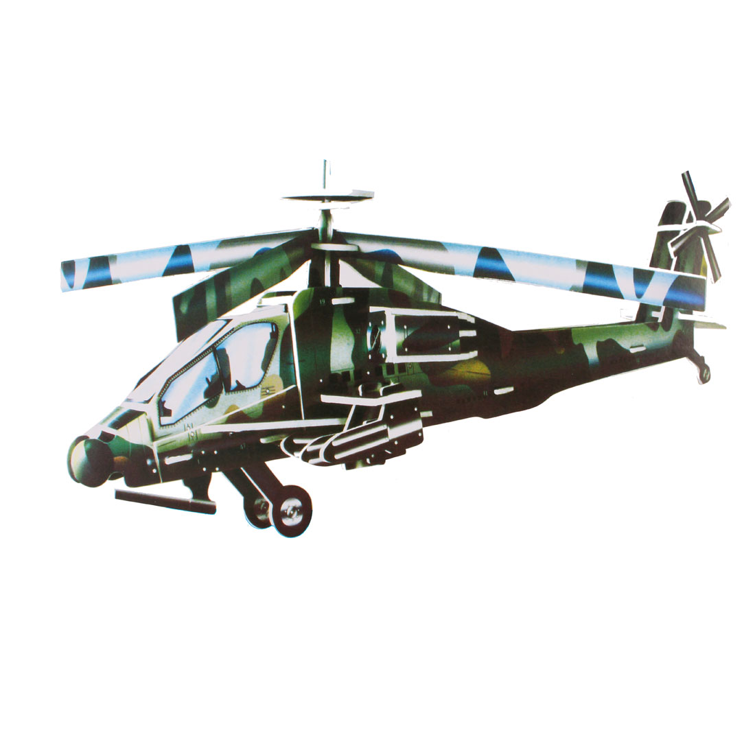 Kids Green Black Foam Paper Model Armed Helicoper 3D Educational Puzzle Toy