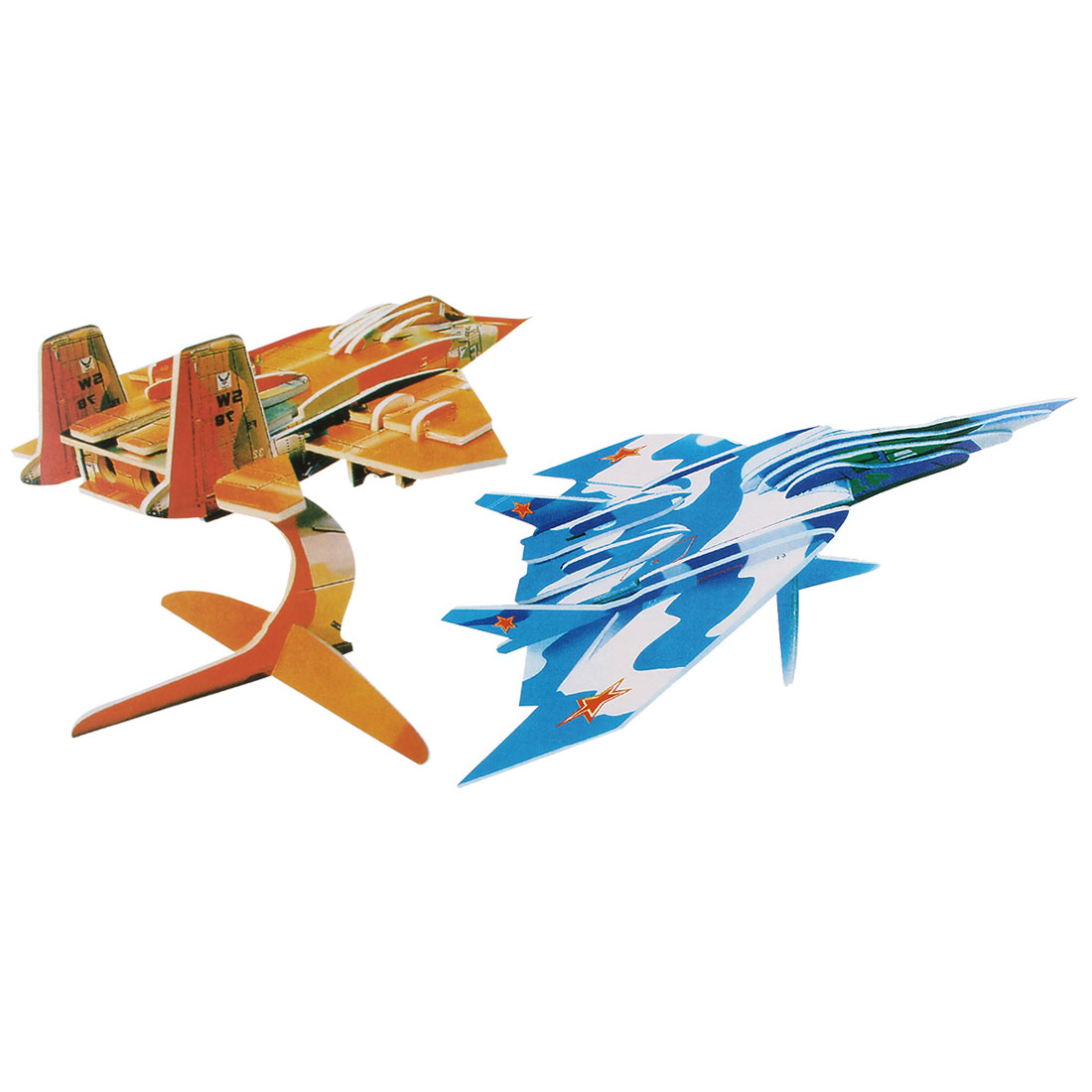 Kids Blue Orange Foam Paper Model Warplane 3D Educational Puzzle Toy 2 in 1