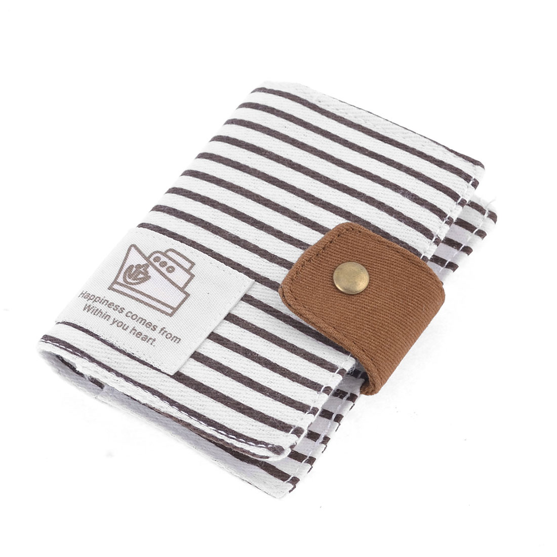 White Black Stripe Pattern Canvas Cover 20 Sheets VIP Name Card Holder Organizer