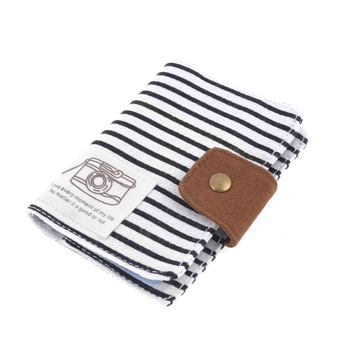 White Black Stripe Pattern Canvas Cover 20 Rooms VIP Name Card Holder Organizer