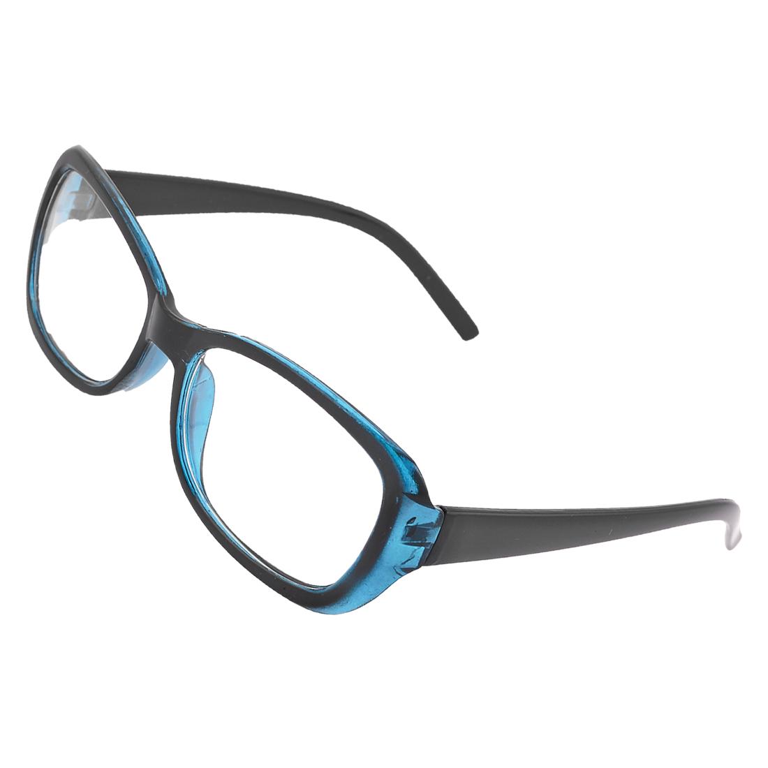 Rectangular Clear Lens Blue Black Plastic Full Rim Plain Glasses for Women