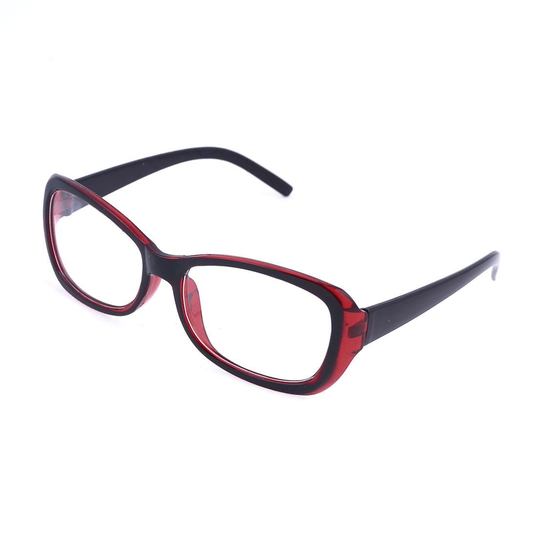 Women Red Black Plastic Full Rim Rectangular Clear Lens Plain Glasses