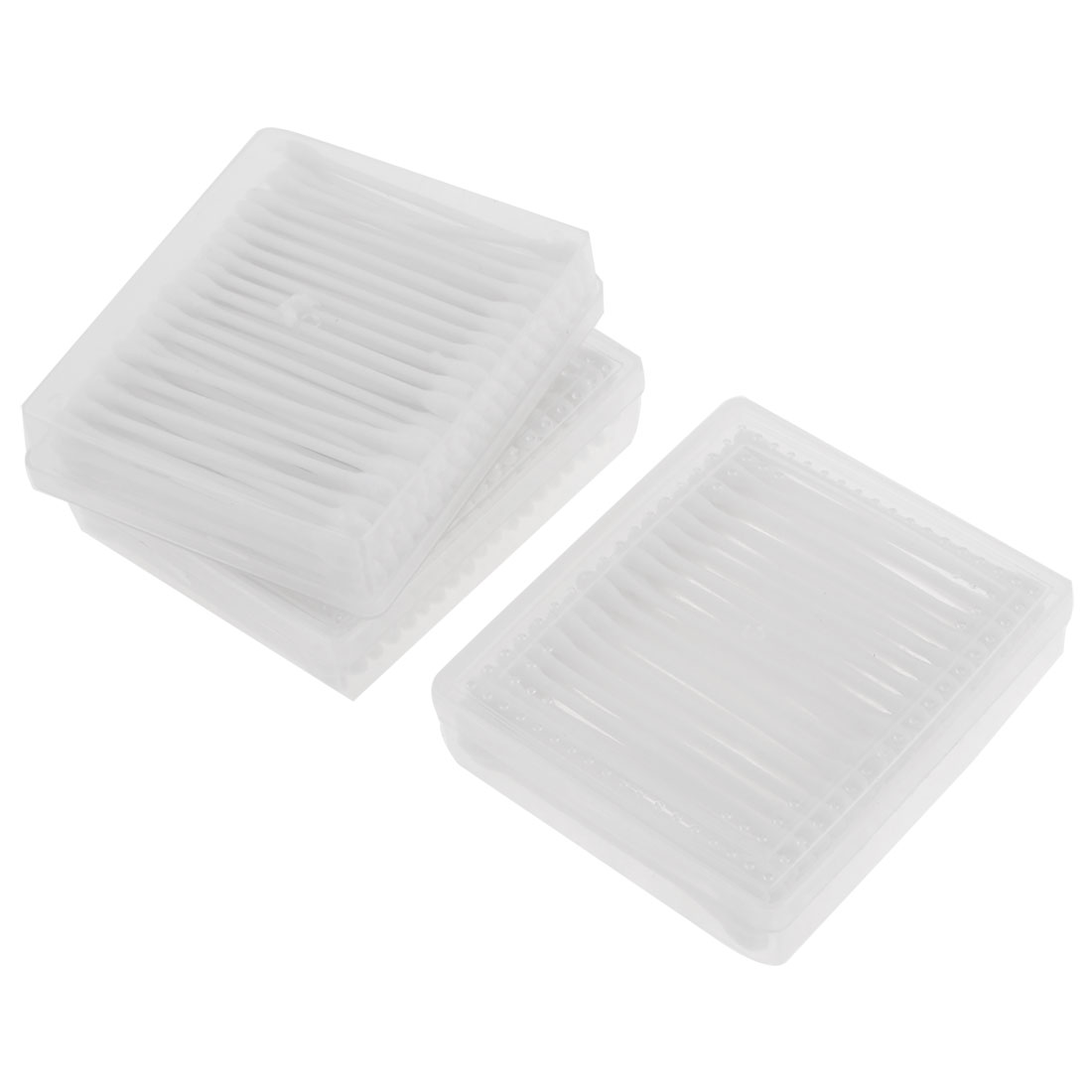 3 Case Double End White Plastic Tube Cotton Swab Stud Earwax Remover Picks
