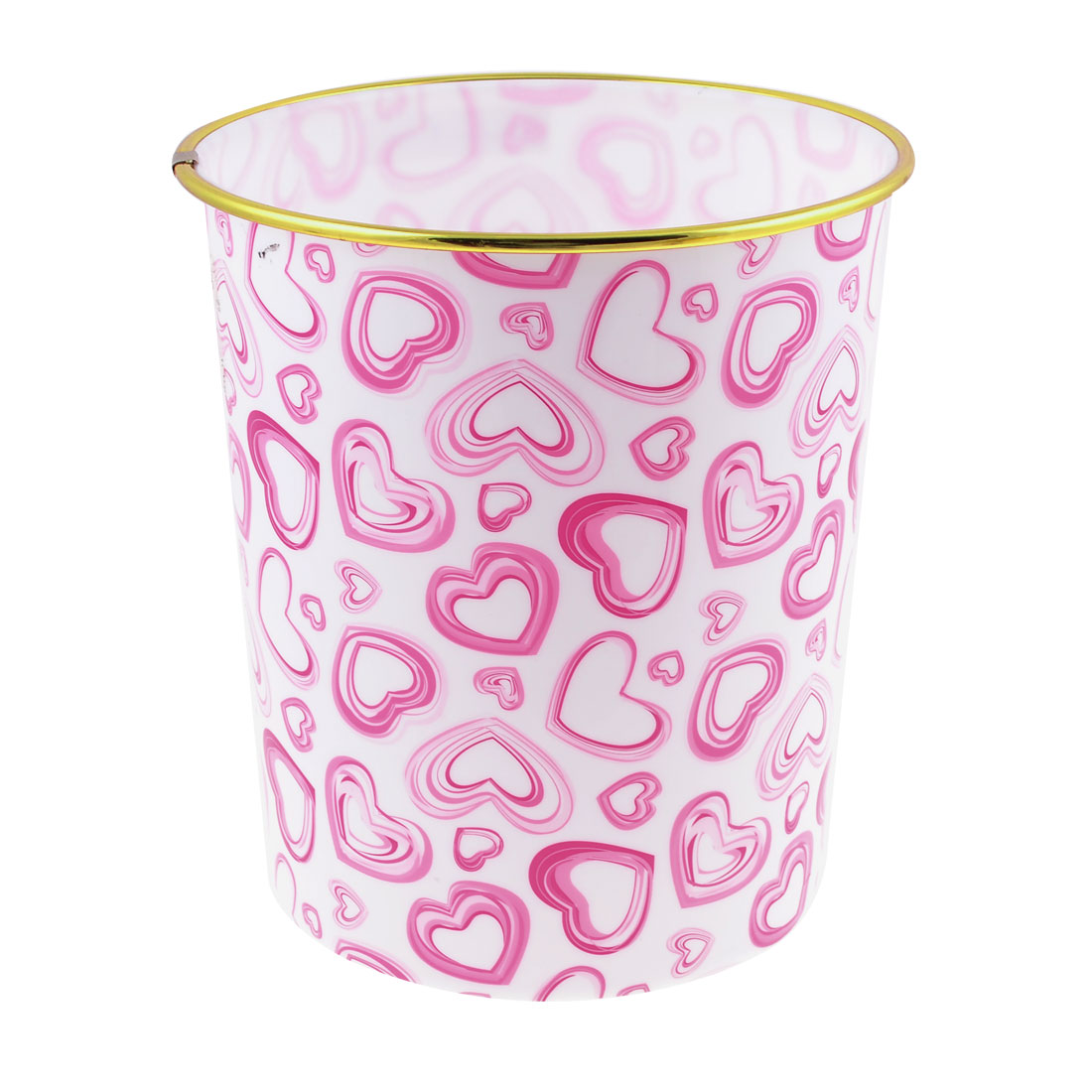 Pink Heart Printed Gold Tone Border White Plastic Sundries Garbage Pail