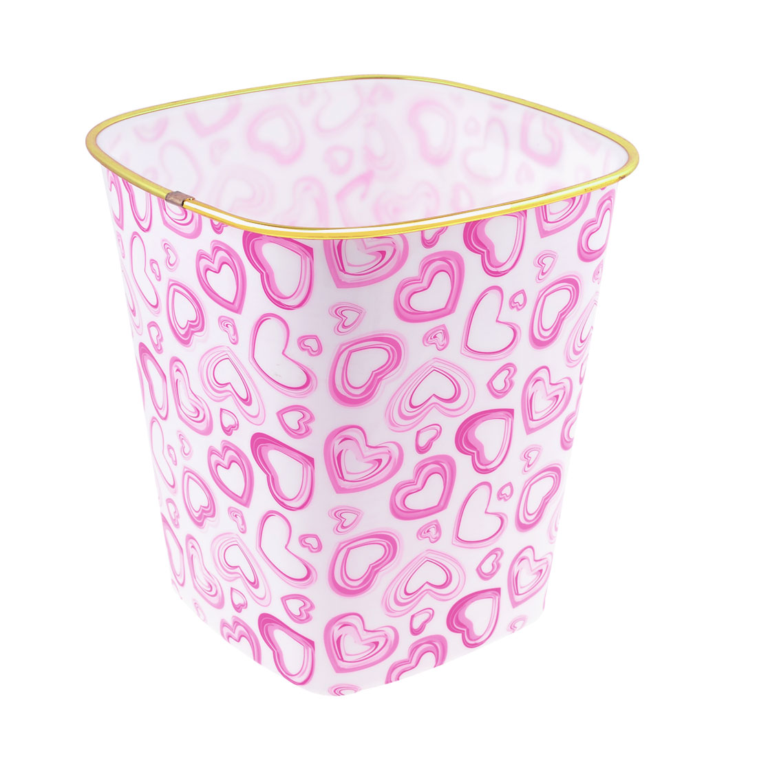 Middle Size Pink Heart Printed Gold Tone Border White Plastic Square Garbage Pail