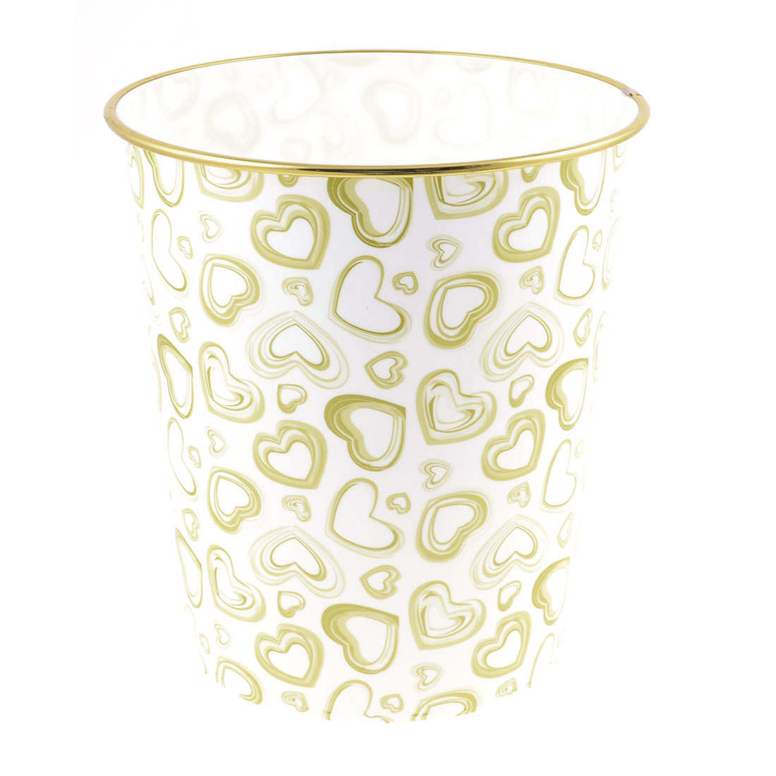 Olive Green Heart Printed Gold Tone Rim White Plastic Garbage Pail