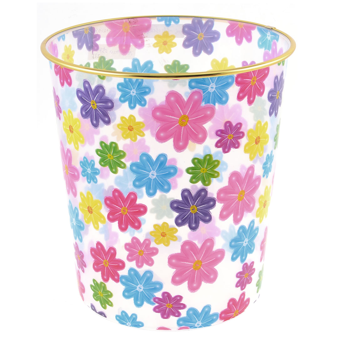 Colorful Flower Pattern Gold Tone Trim Clear Plastic Garbage Pail