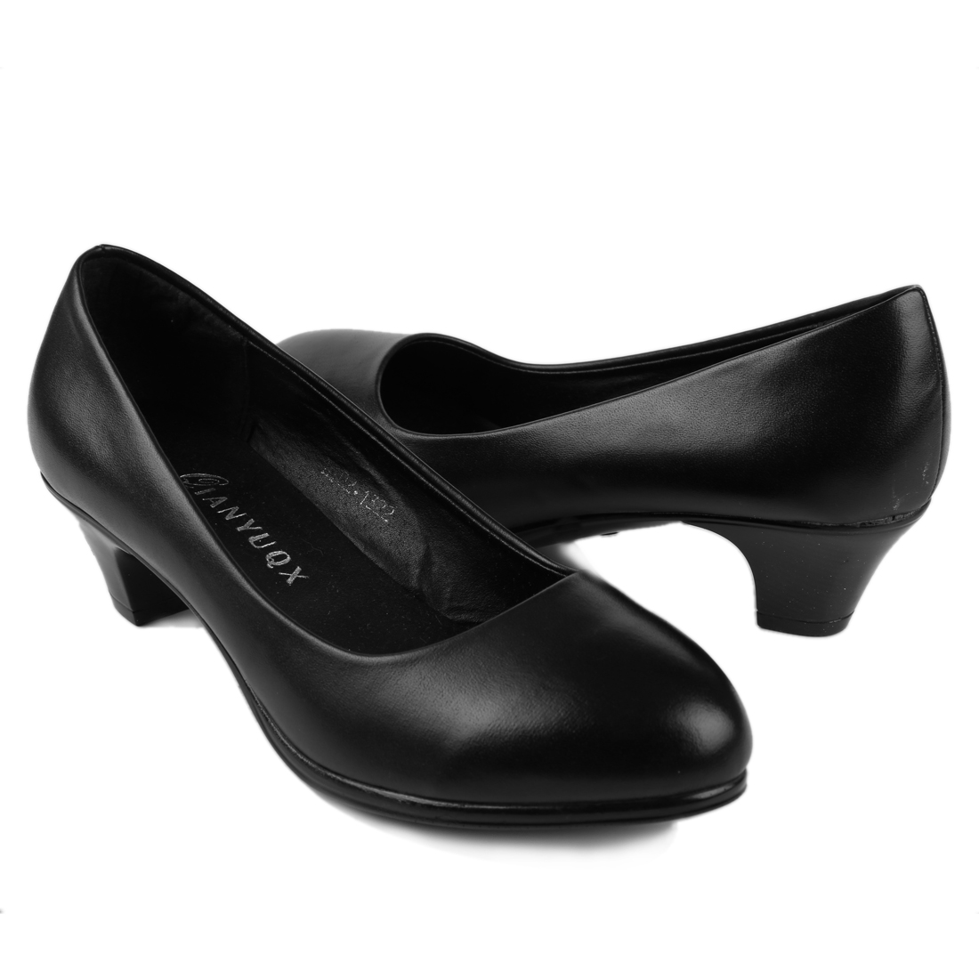Women Round Toe Cushioned Footbed Heels Black US 9