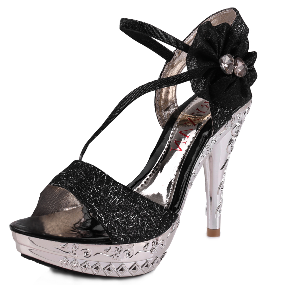 Women Open Toe Flower Decor Sandals Black Silver Tone US 6.5